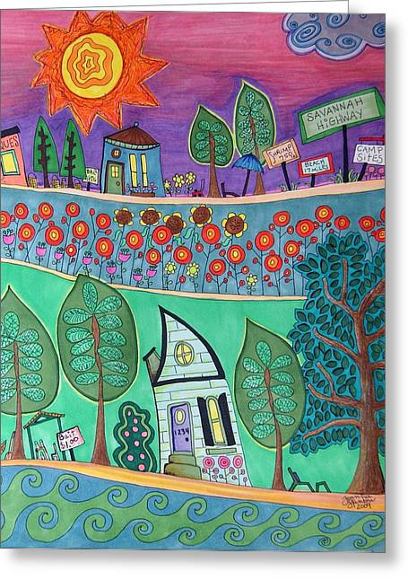 Charleston Drawings Greeting Cards - 100 Degrees Greeting Card by Joanna Stanton