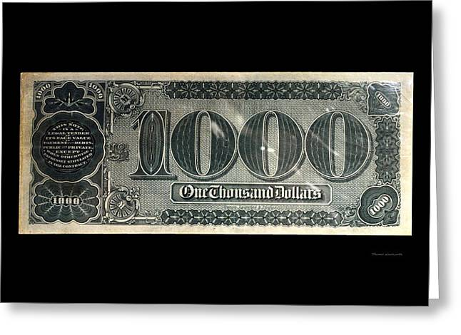 Inflation Greeting Cards - 1000 Dollar US Currency Bill Backside Greeting Card by Thomas Woolworth