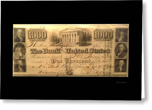 Inflation Greeting Cards - 1000 Dollar US Currency Philadelphia Bill Greeting Card by Thomas Woolworth