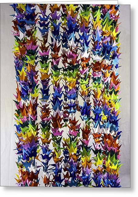 Hanging Mobile Greeting Cards - 1000 Senbazuru Multi Color Crane Mobile 2417 Greeting Card by Karen Celella