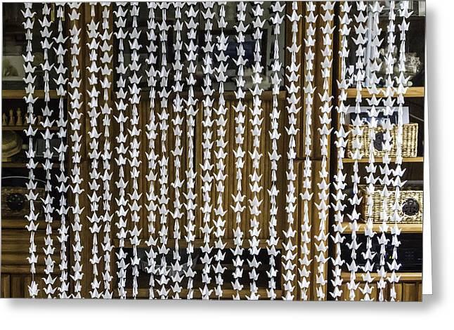 Hanging Mobile Greeting Cards - 1000 Senbazuru White Crane Wall-Window Hanging  4557 Greeting Card by Karen Celella
