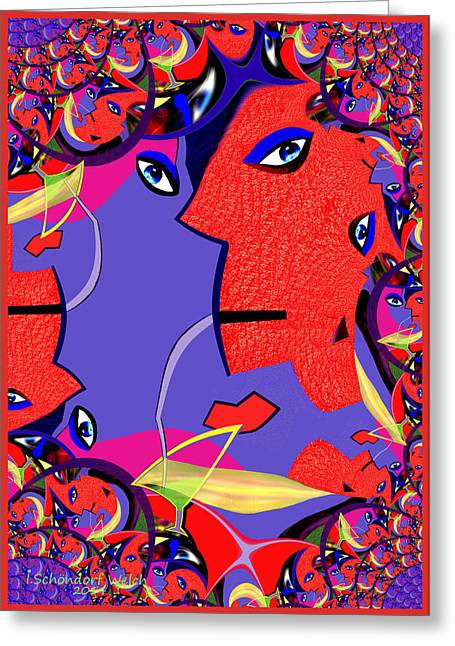 Fractal Greeting Cards Greeting Cards - 1001 - Fractal Facial Greeting Card by Irmgard Schoendorf Welch