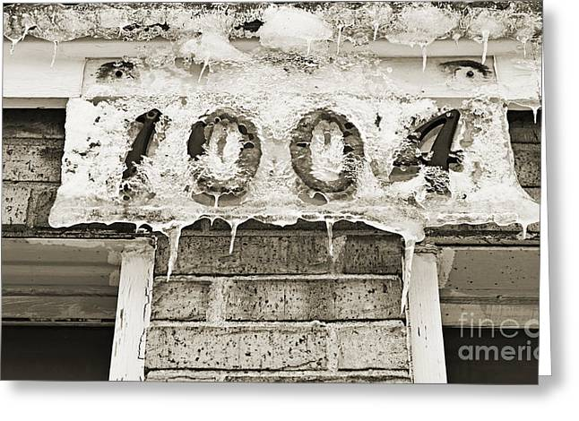 Old Town Digital Greeting Cards - 1004 Main Street Small Town USA - BW  Greeting Card by Andee Design