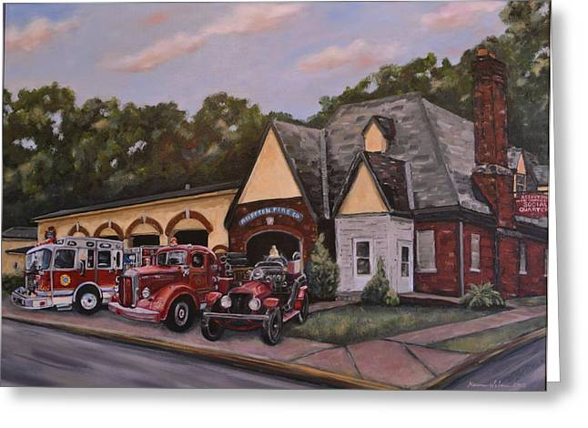 Exeter Hall Greeting Cards - 100th Anniversary Commemorative painting of the Reiffton Fire House Greeting Card by Karen Weber