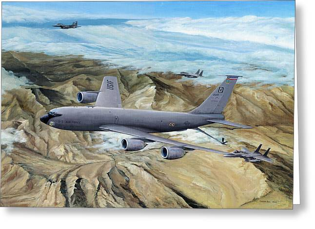 Iraq Prints Greeting Cards - 100th ARW Flagship Greeting Card by Kenneth Karl