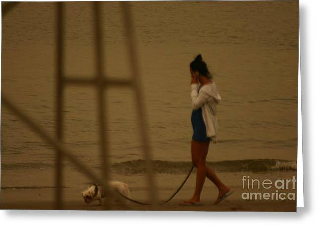 Swimmers Pyrography Greeting Cards - A lady and her dog Greeting Card by Eric Brock