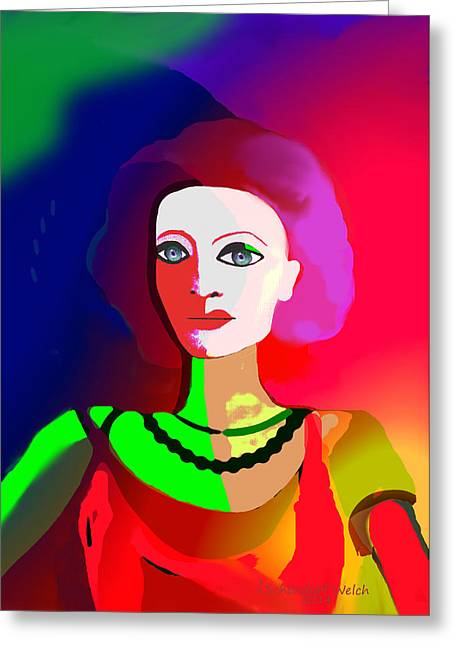 Bold Necklace Greeting Cards - 1012 - Lady psychedelic touch Greeting Card by Irmgard Schoendorf Welch