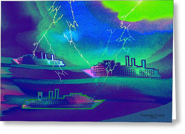 Thunderstorm Digital Art Greeting Cards - 1016 -   Thunderstorm in the Harbour Greeting Card by Irmgard Schoendorf Welch