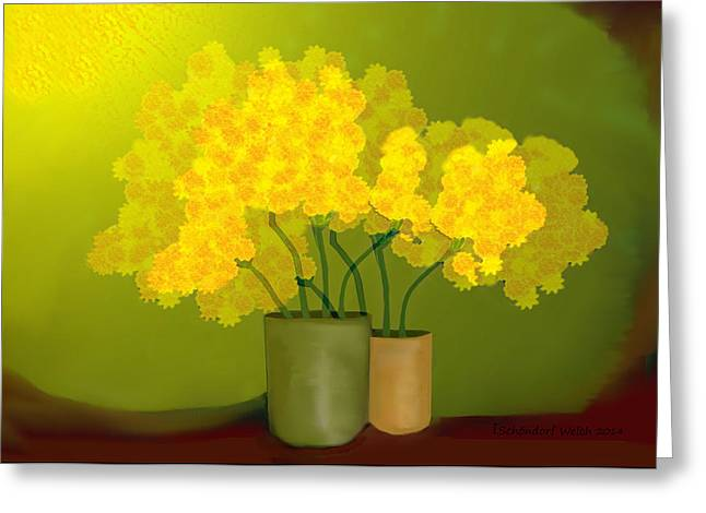 Yellow Flower Pot Greeting Cards - 1021 - Yellow Flowers ... Greeting Card by Irmgard Schoendorf Welch