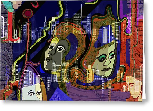 Decorativ Digital Art Greeting Cards - 103 -  City People  Psychedelic ... Greeting Card by Irmgard Schoendorf Welch