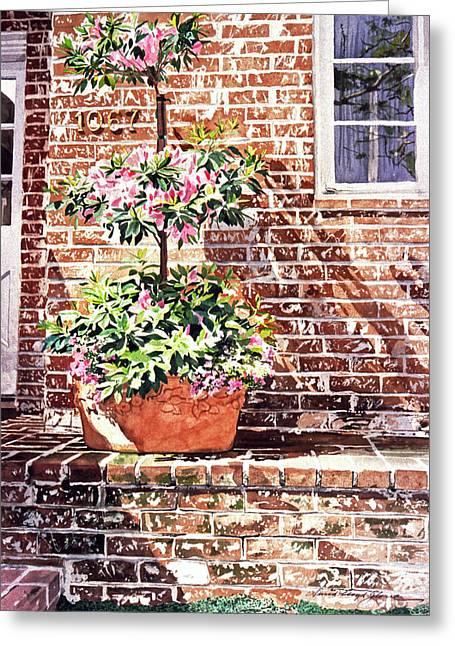 Brick Patio Greeting Cards - 1067 Azalea Way Greeting Card by David Lloyd Glover