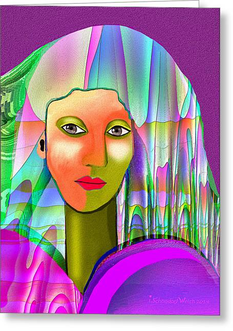 Mysterious Women Greeting Cards - 1079 - Mysterious  Lady with a veil Greeting Card by Irmgard Schoendorf Welch