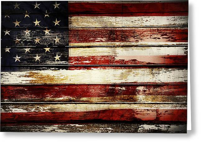 Nations Greeting Cards - American flag Greeting Card by Les Cunliffe