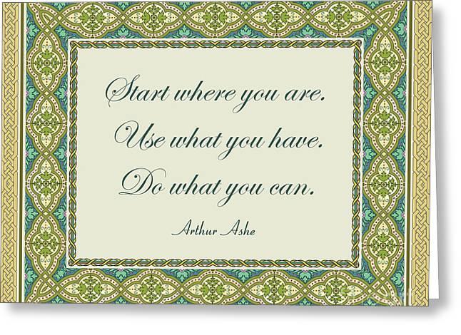 108- Arthur Ashe Greeting Card by Joseph Keane