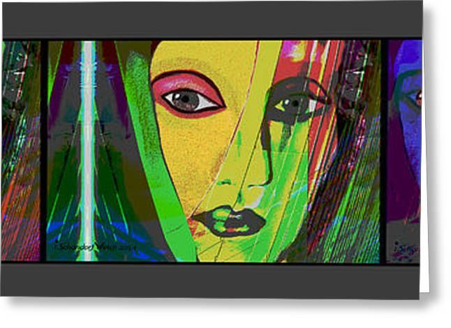 Vivid Colour Digital Art Greeting Cards - 1085 - Triptych vivid colours Greeting Card by Irmgard Schoendorf Welch