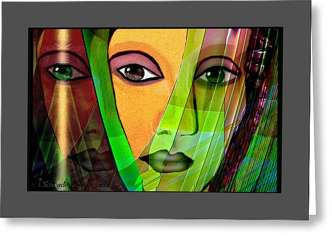 Vivid Colour Digital Art Greeting Cards - 1086 - A lady Greeting Card by Irmgard Schoendorf Welch