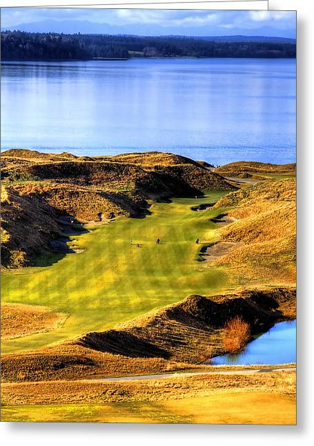 Chambers Bay Golf Course Greeting Cards - 10th Hole at Chambers Bay Greeting Card by David Patterson