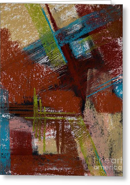 Contemporary Abstract Pastels Greeting Cards - On the Diagonal Greeting Card by Tracy L Teeter