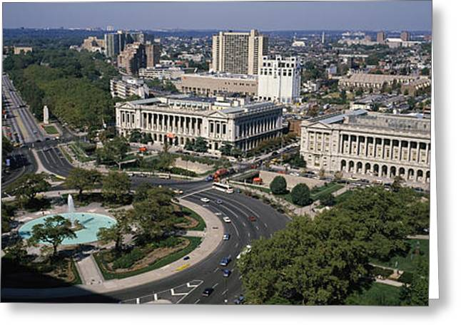Philadelphia Museum Of Art Greeting Cards - Aerial View Of Buildings In A City Greeting Card by Panoramic Images