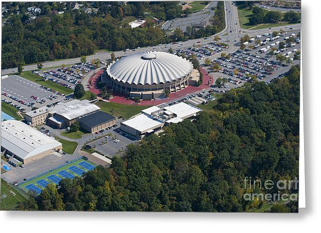 aerials of WVVU campus Greeting Card by Dan Friend
