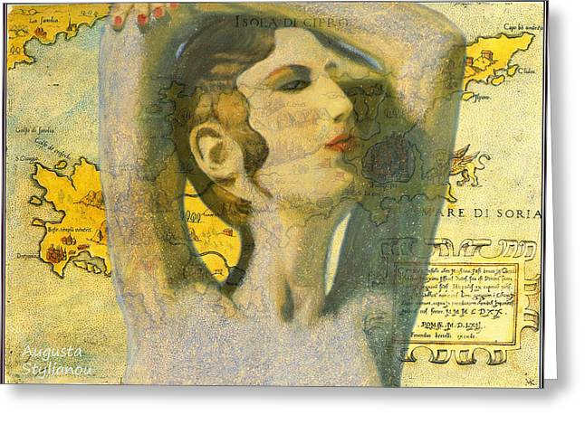 Antique Map Paintings Greeting Cards - Ancient Cyprus Map and Aphrodite Greeting Card by Augusta Stylianou