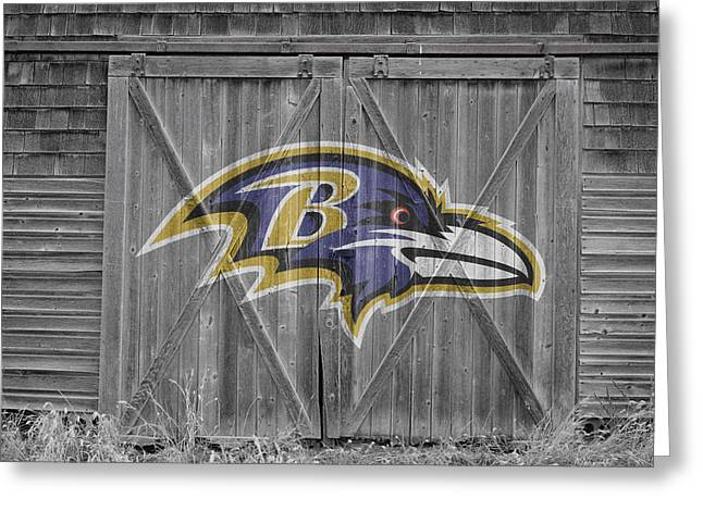 Barn Door Greeting Cards - Baltimore Ravens Greeting Card by Joe Hamilton