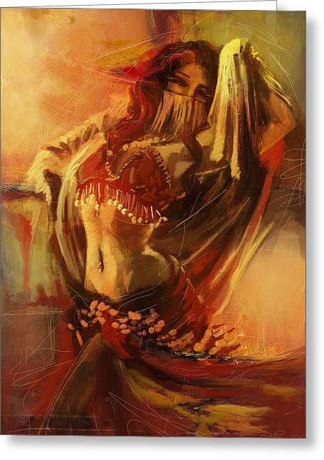 Dancer Art Greeting Cards - Belly Dancer 10 Greeting Card by Corporate Art Task Force