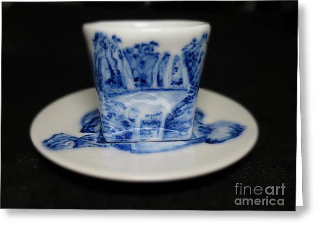 Lake Ceramics Greeting Cards - Blue And White Porcelain Greeting Card by Champion Chiang