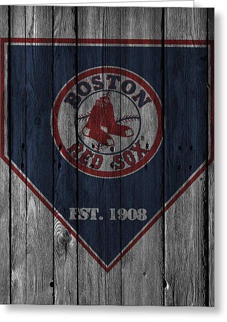 Barn Door Greeting Cards - Boston Red Sox Greeting Card by Joe Hamilton