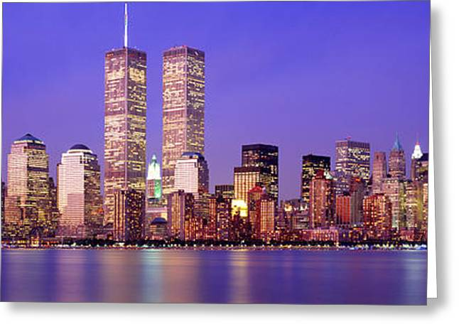 Wall Street Greeting Cards - Buildings At The Waterfront Lit Greeting Card by Panoramic Images