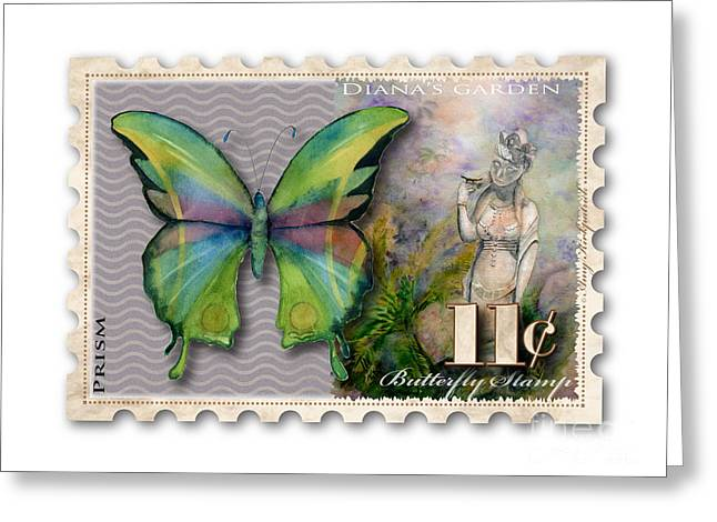 Eleven Greeting Cards - 11 Cent Butterfly Stamp Greeting Card by Amy Kirkpatrick