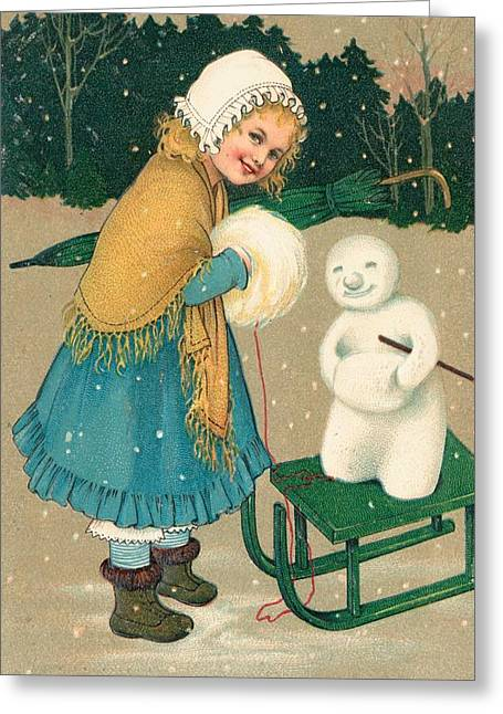 Sledge Greeting Cards - Christmas card Greeting Card by English School