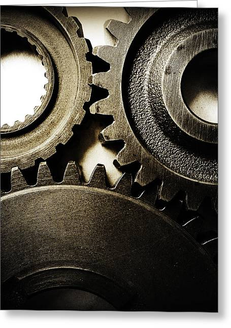Cogs Greeting Cards - Cogs Greeting Card by Les Cunliffe