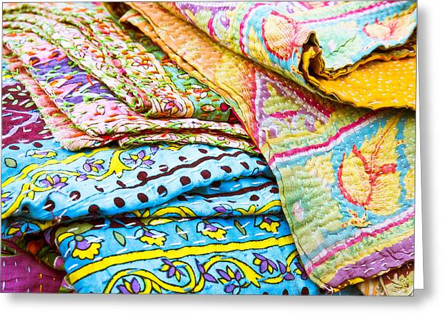 Snippet Greeting Cards - Colorful cloth Greeting Card by Tom Gowanlock