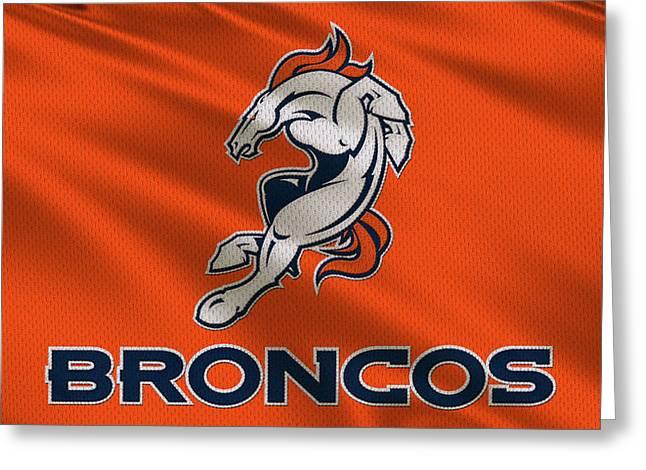 Denver Broncos Greeting Cards - Denver Broncos Uniform Greeting Card by Joe Hamilton