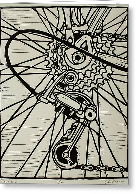 Recently Sold -  - Lino Greeting Cards - Derailluer Greeting Card by William Cauthern