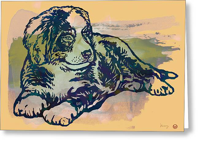 Dogs Mixed Media Greeting Cards - Dog stylised pop modern etching art portrait Greeting Card by Kim Wang