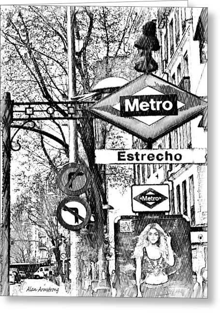 Spain Greeting Cards - 11 Estrecho Metro Madid Greeting Card by Alan Armstrong