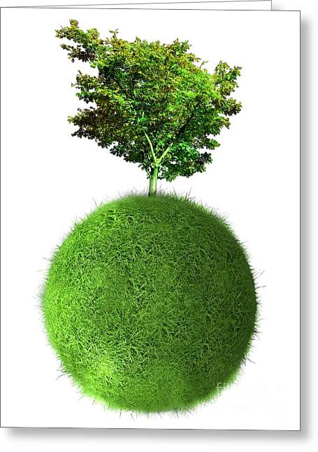 Responsible Greeting Cards - Green Planet, Conceptual Artwork Greeting Card by Victor Habbick Visions