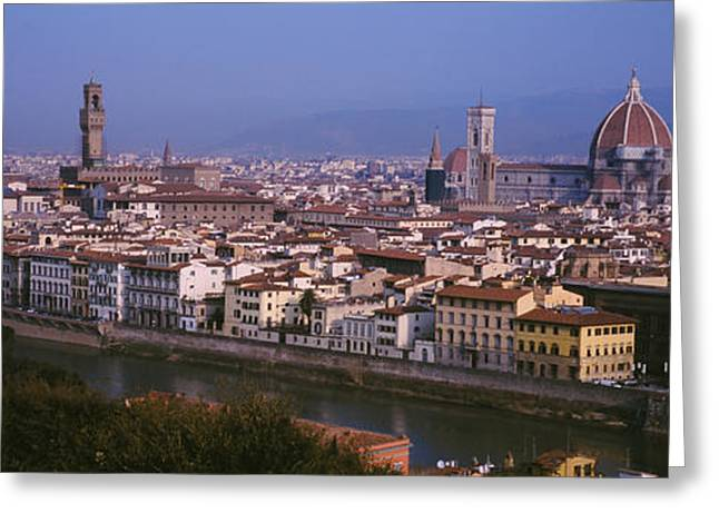 Arno River Greeting Cards - High Angle View Of A Cityscape Greeting Card by Panoramic Images