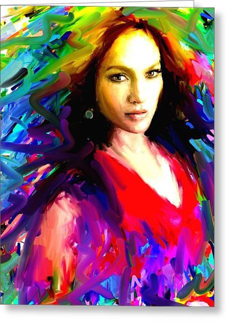 Super Stars Greeting Cards - Jennifer Lopez Greeting Card by Bogdan Floridana Oana