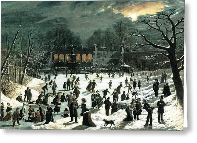 Ice-skating Greeting Cards - Moonlight Skating Central Park the Terrace and Lake Greeting Card by John Sloan