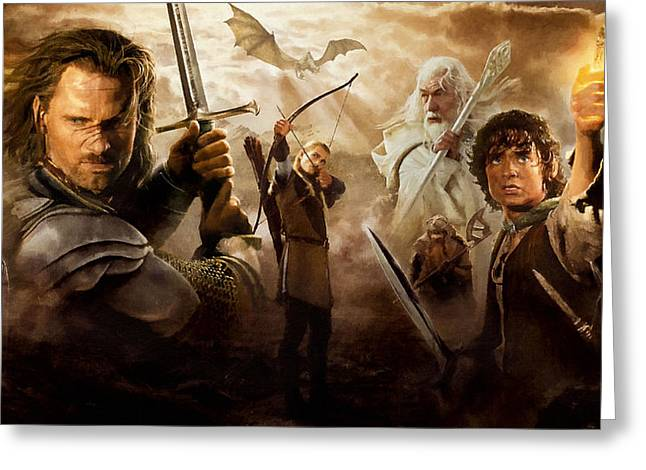 Lord Of The Rings Greeting Cards - Lord Of The Rings Poster Greeting Card by Victor Gladkiy