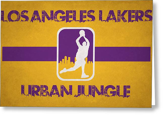 Dunk Greeting Cards - Los Angeles Lakers Greeting Card by Joe Hamilton