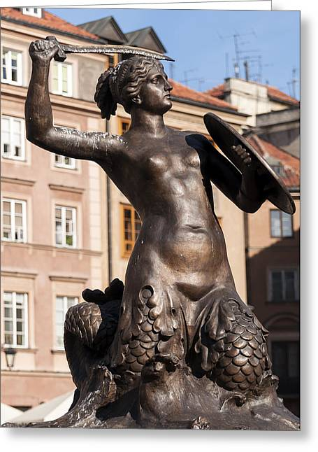 Statue Portrait Photographs Greeting Cards - Mermaid statue in Warsaw. Greeting Card by Fernando Barozza