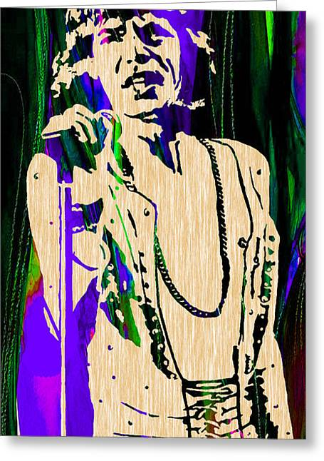 Mick Jagger Greeting Cards - Mick Jagger of The Rolling Stones Painting Greeting Card by Marvin Blaine