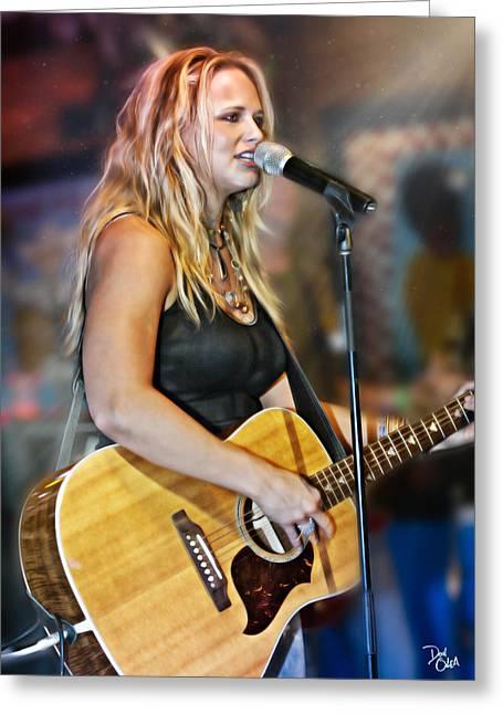 Epiphone Guitars Greeting Cards - Miranda Lambert Greeting Card by Don Olea