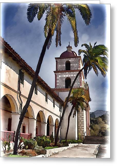 Mission Santa Barbara Greeting Cards - Mission Santa Barbara Greeting Card by Jon Berghoff
