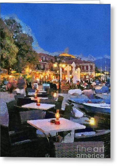 Fortress Greeting Cards - Molyvos town in Lesvos island Greeting Card by George Atsametakis