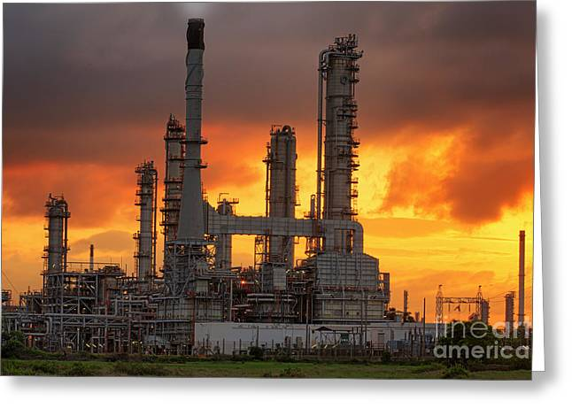 Gas Tower Greeting Cards - Oil refinery Greeting Card by Anek Suwannaphoom